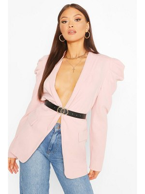Boohoo Puff Sleeve Faux Leather Belted Blazer