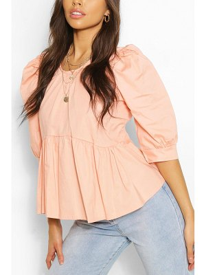 Boohoo Puff Sleeve Peplum Top