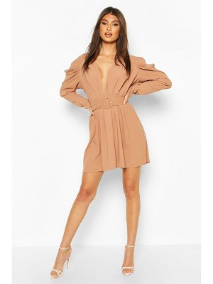 Boohoo Puff Sleeve Plunge Belted Skater Dress