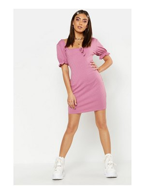 Boohoo Puff Sleeve Rib Square Neck Mini Dress