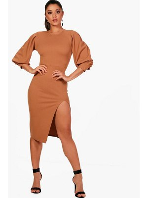 Boohoo Puff Sleeve Thigh Split Midi Dress