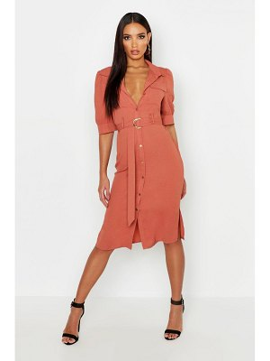 Boohoo Puff Sleeve Utility Midi Shirt Dress