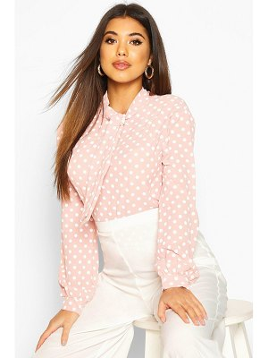 Boohoo Pussy Bow Polka Dot High Neck Blouse
