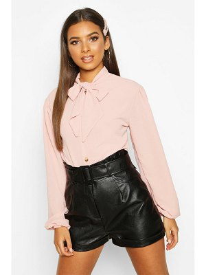 Boohoo Pussybow Button Through Volume Sleeve Blouse