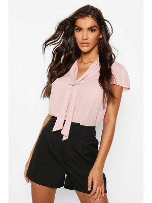 Boohoo Pussybow Short Sleeve Woven Blouse