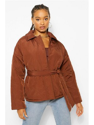 Boohoo Quilted Belted Puffer Jacket