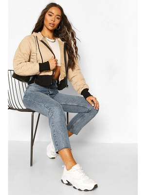 Boohoo Quilted Hooded Bomber Jacket