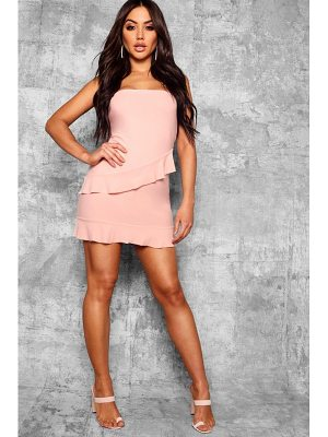 Boohoo Bandeau Frill Hem Detail Bodycon Dress