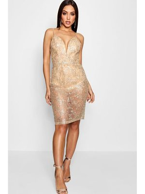 Boohoo Rachel Sparkle Glitter Midi Dress