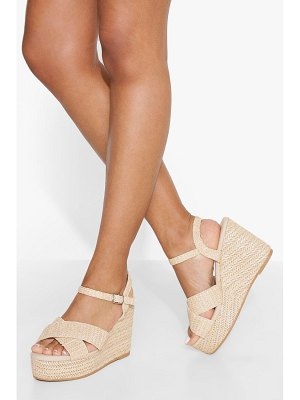 Boohoo Raffia 2 Part Wedge
