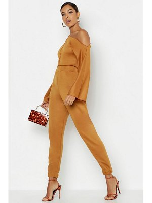 Boohoo Raw Edge Off The Shoulder Tracksuit