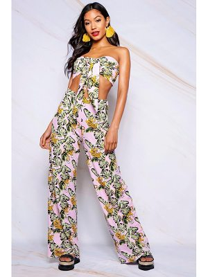 Boohoo Tropical Print Wide Leg Trouser
