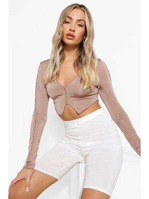 Boohoo Recycled Exposed Seam V Neck Crop