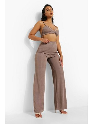 Boohoo Recycled Ribbed Wide Leg Trouser