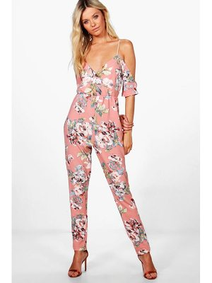BOOHOO Remy Cold Shoulder Floral Jumpsuit