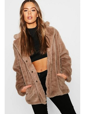 Boohoo Revere Collar Faux Fur Coat