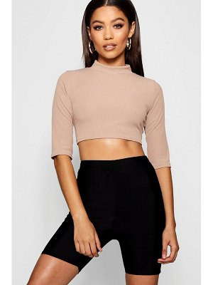 Boohoo Rib 3/4 Sleeve High Neck Crop
