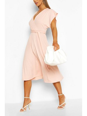 Boohoo Rib Belted Midi Skater Dress
