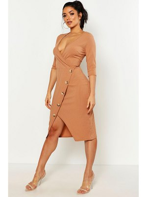 Boohoo Rib Button Front Midi Dress