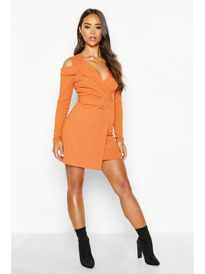 Boohoo Rib Cold Shoulder Skater Dress