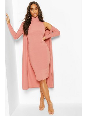 Boohoo Rib Funnel Neck Midi Dress And Duster
