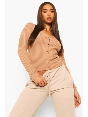 Boohoo Rib Knit Crop Cardigan