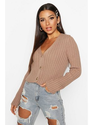 Boohoo Rib Knit Cropped Cardigan