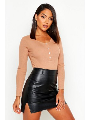 Boohoo Rib Knit Long Sleeve Button one piece