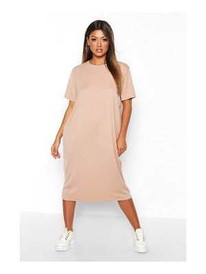 Boohoo Rib Knit Midi T-Shirt Dress