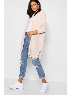 Boohoo Rib Knit Pocket Cardigan