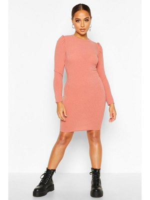 Boohoo Rib Knit Puff Sleeve Mini Dress