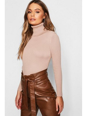 Boohoo Rib Knit Roll Neck Sweater