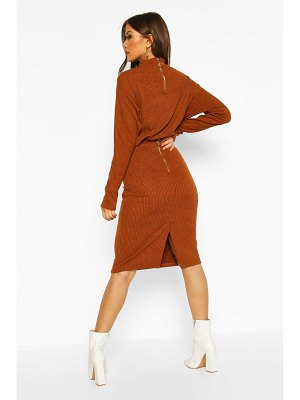 Boohoo Rib Knit Split Midi Skirt