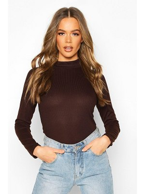 Boohoo Rib Knit Turtle Neck Long Sleeve Top