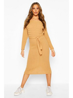 Boohoo Rib Knitted Midaxi Belted Dress