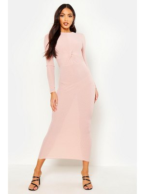 Boohoo Rib Long Sleeve Twist Maxi Dress