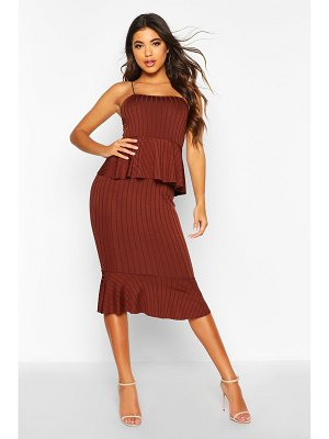 Boohoo Rib Peplum Midi Dress