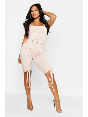 Boohoo Rib Square Neck Ruched Unitard