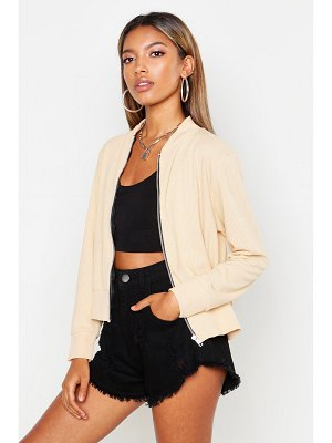 Boohoo Ribbed Bomber Jacket