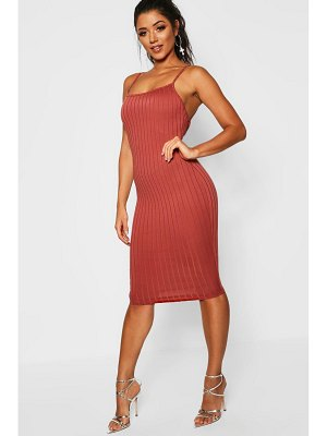 Boohoo Ribbed Low Back Midi Dress