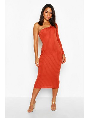 Boohoo Ribbed One Shoulder Midaxi Dress