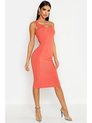 Boohoo Ribbed One Shoulder Midi Dress