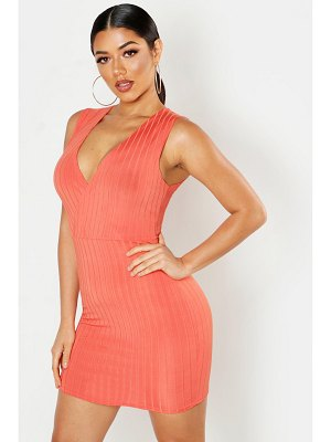 Boohoo Ribbed Plunge Bodycon Mini Dress