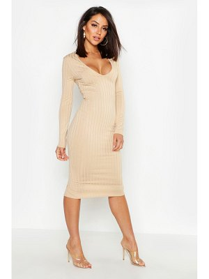 Boohoo Ribbed Plunge Neck Midi Dress