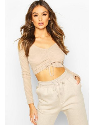 Boohoo Ribbed Ruched Crop Top