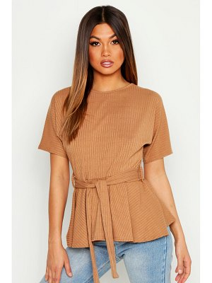 Boohoo Ribbed Short Sleeve Peplum Top