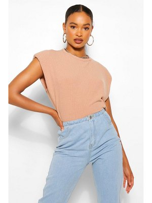 Boohoo Ribbed Shoulder Pad Tee