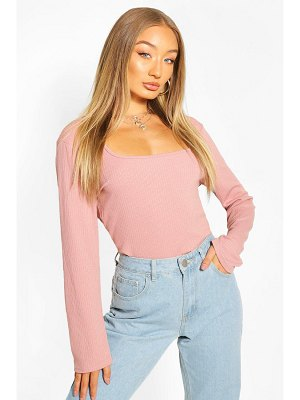 Boohoo Ribbed Square Neck Top