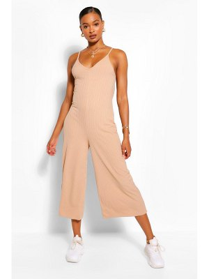 Boohoo Ribbed Strappy Culotte Jumpsuit