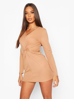 Boohoo Ribbed Twist Front Midi Dress